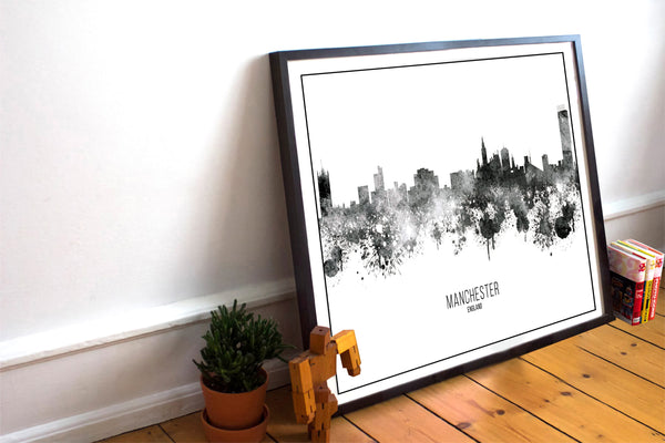 Black Watercolour Manchester Skyline Landscape Photo Print