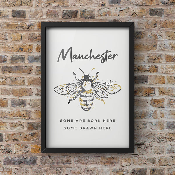 Grey Watercolour Manchester Bee 'Some are born here, Some drawn here' Print Photo