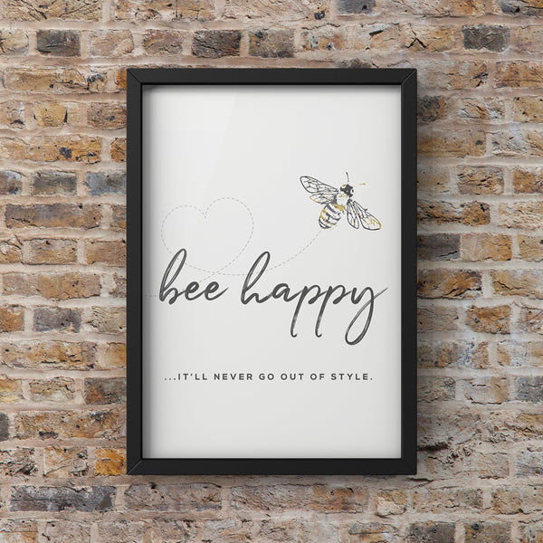 Grey Watercolour Manchester Bee Framed Photograph 'Bee Happy' Print Photo Wall Art