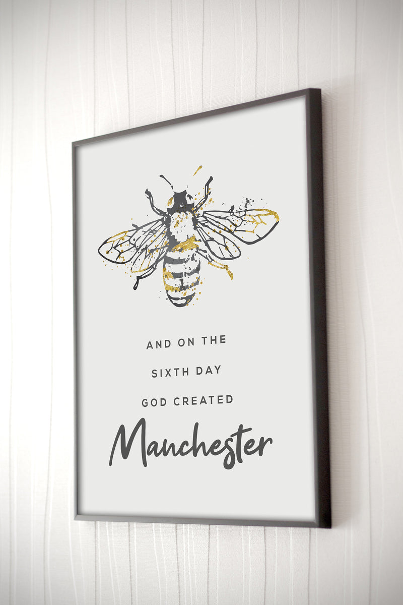 Grey Watercolour Manchester Bee Print 'God created Manchester' Print Photo