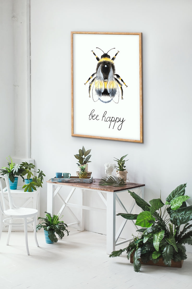 White Background with Watercolour Manchester Bee Framed Photograph Print Photo Wall Art 'Bee Happy'