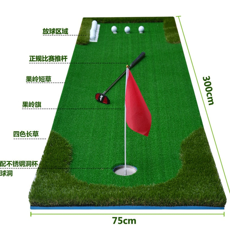 Golf Putting Trainer Indoor Training Equipment Golfs Ball Holder Training Aids Tool Office Green Fairway Practice Mat
