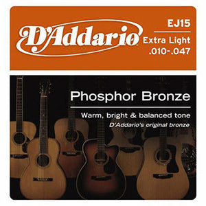 D'Addario EJ15 Phosphor Bronze Extra Light Gauge