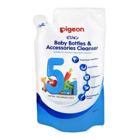 Pigeon 5-In-1 Baby Bottle & Accessories Cleanser, 450ml, Paraben Free Liquid Cleaner, M78014