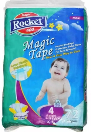 Rocket Magic Tape 4 Large ( 9 - 14Kg) 72 Pcs