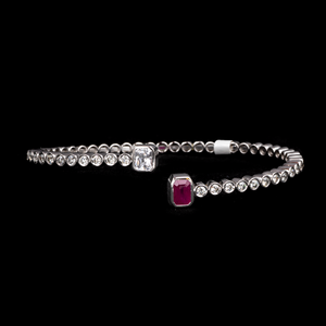 Load image into Gallery viewer, Ruby & Diamond Bubbly Bracelet