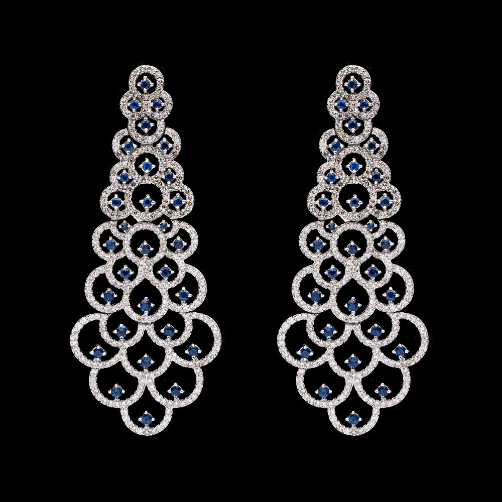 Load image into Gallery viewer, Blue Sapphire & Diamond Royal Earring