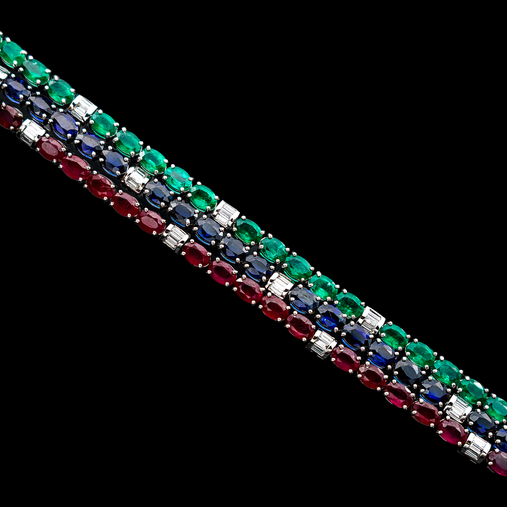Load image into Gallery viewer, Emerald & Baguette Tennis Bracelet