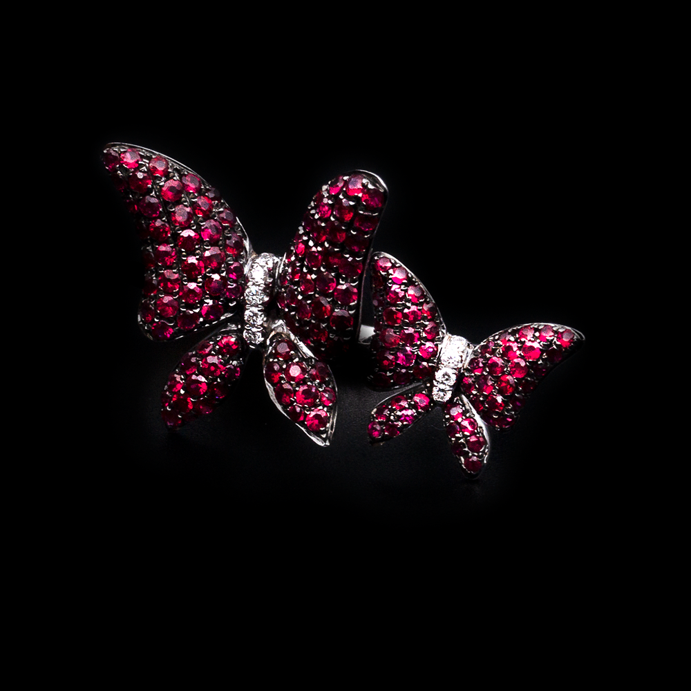 Ruby Butterfly Duo Ring