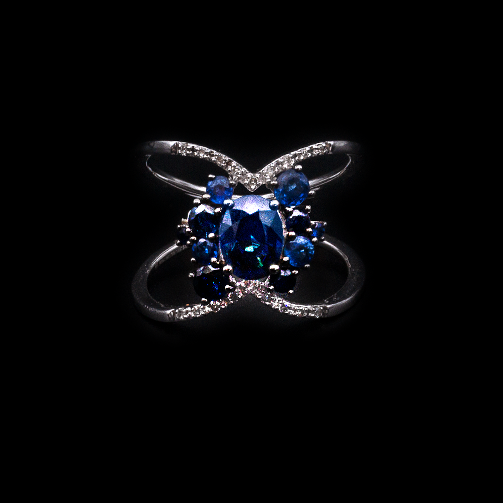 Crossed Sapphire Ring