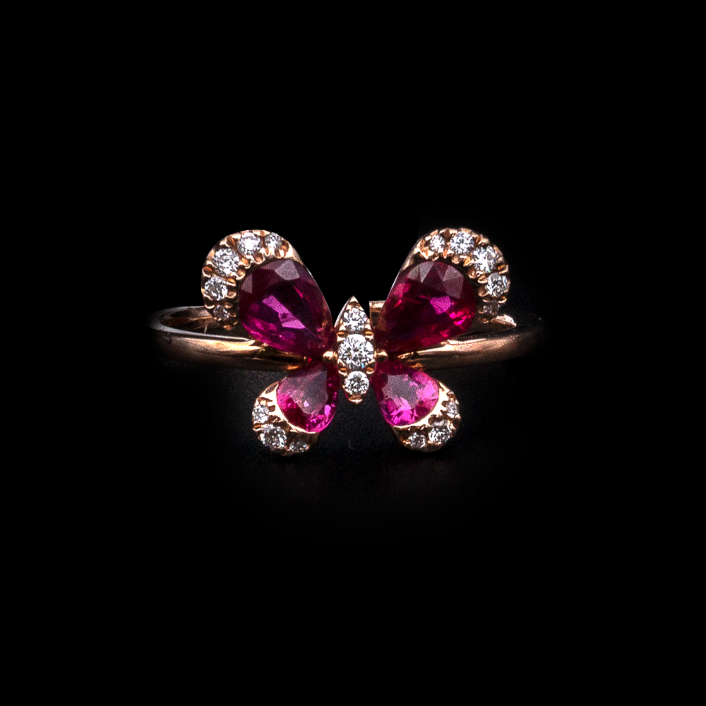 Ruby Butterfly Ring