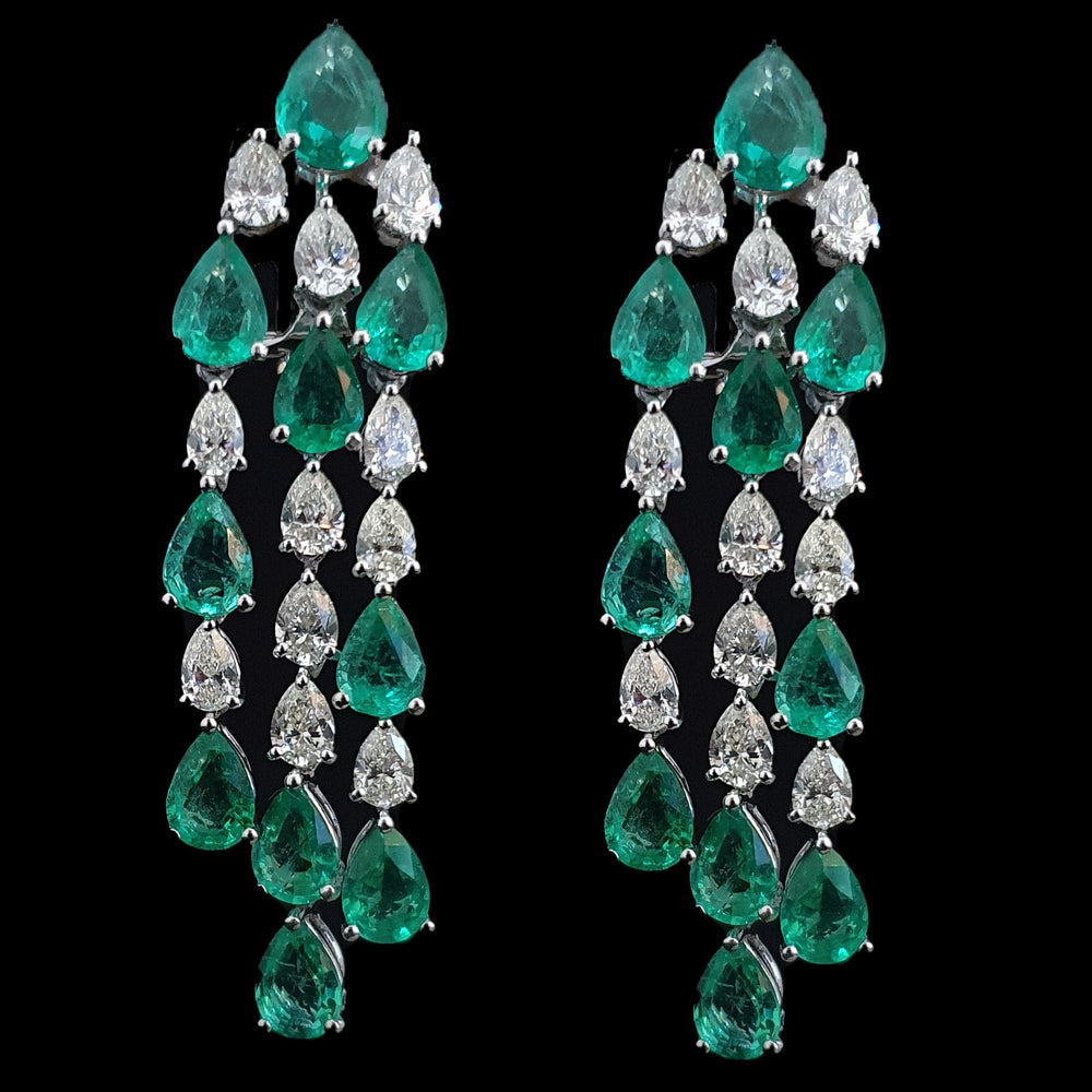 Emerald and Diamond Pear Shape Cascade