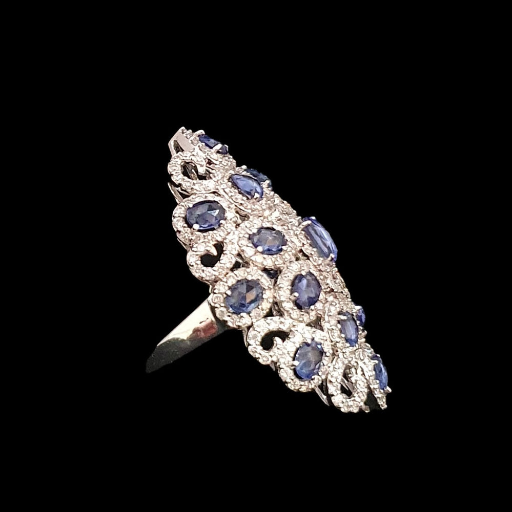 Load image into Gallery viewer, Sapphire and Diamond Long Ring