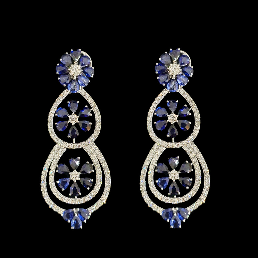 Load image into Gallery viewer, Sapphire Flower Earrings