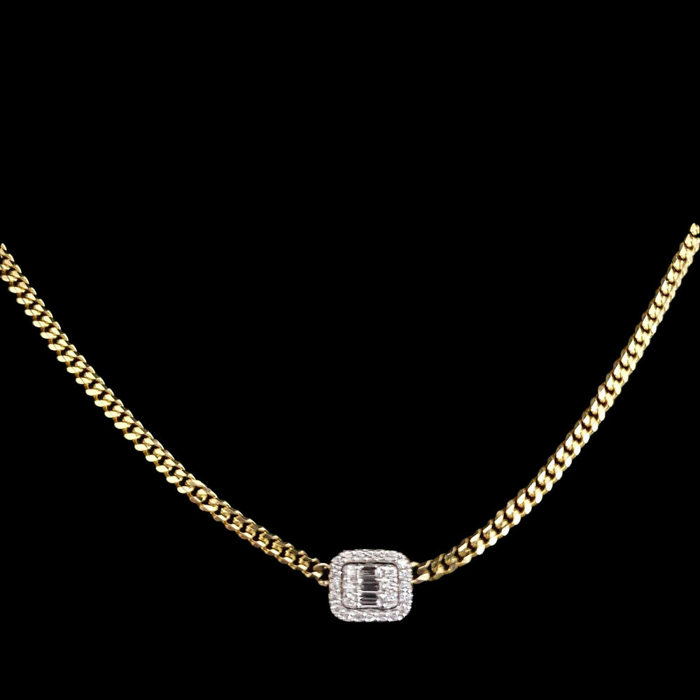 Cuban Link Square Diamond Necklace