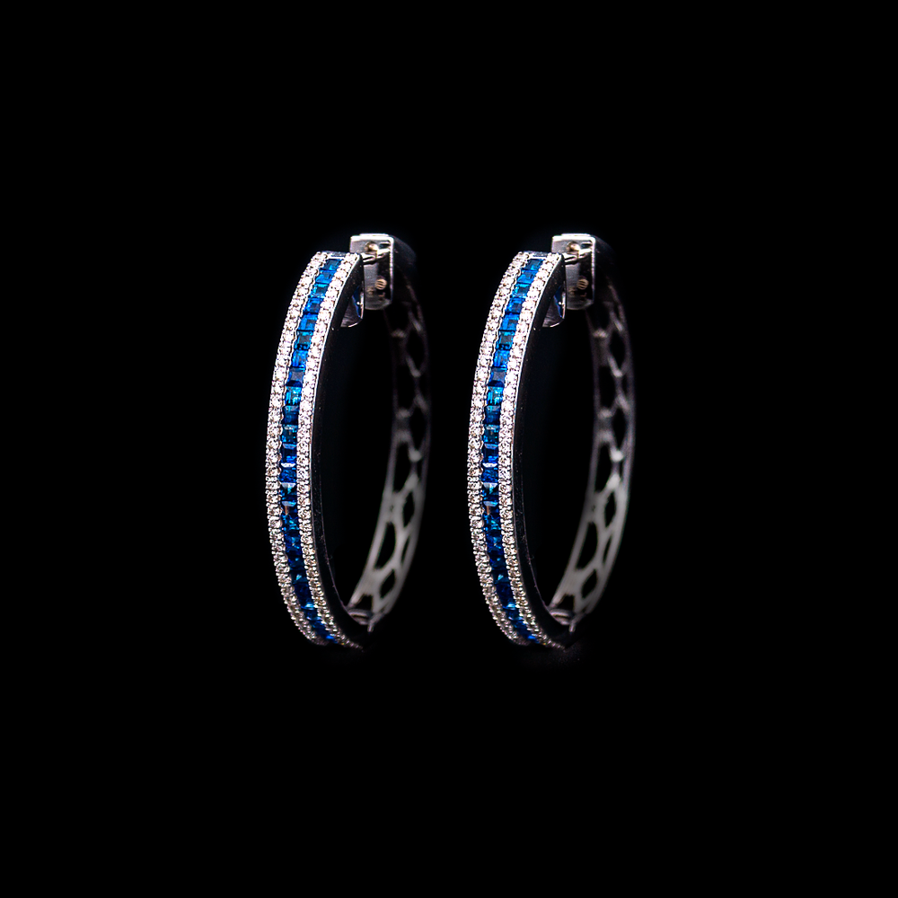 Load image into Gallery viewer, Sapphire and Diamond Hoops