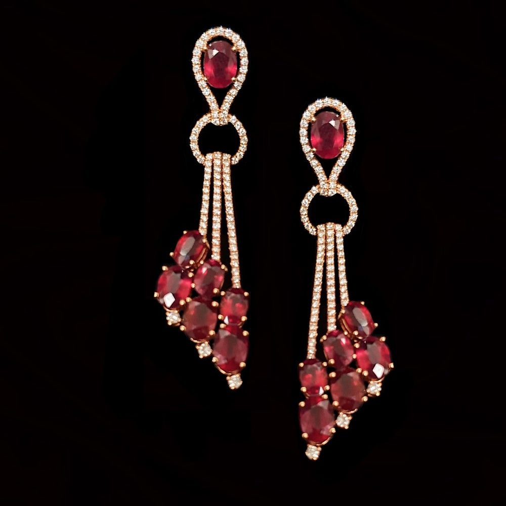Ruby And Diamond Cascade Earrings