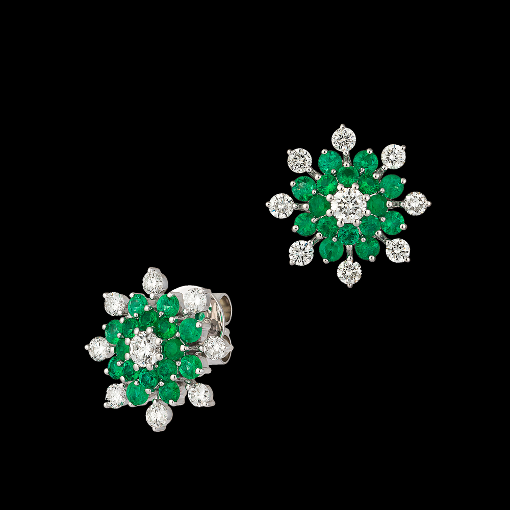 Emerald and Diamond Flower Earring
