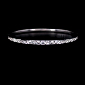 Load image into Gallery viewer, Emerald Cut And Round Diamond Bangle