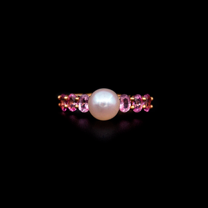 Load image into Gallery viewer, Pink Sapphire and Pearl Band