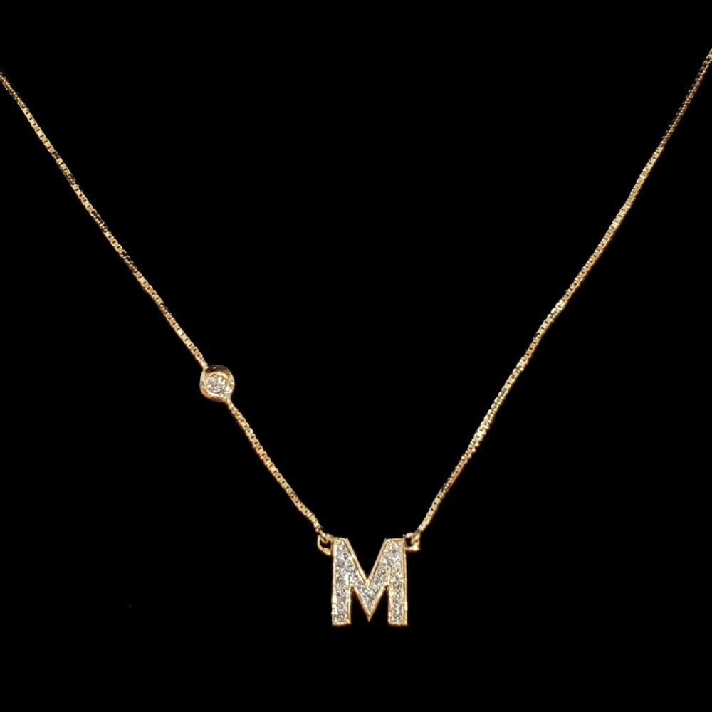 Personalized Initial Gold and Diamond Necklace