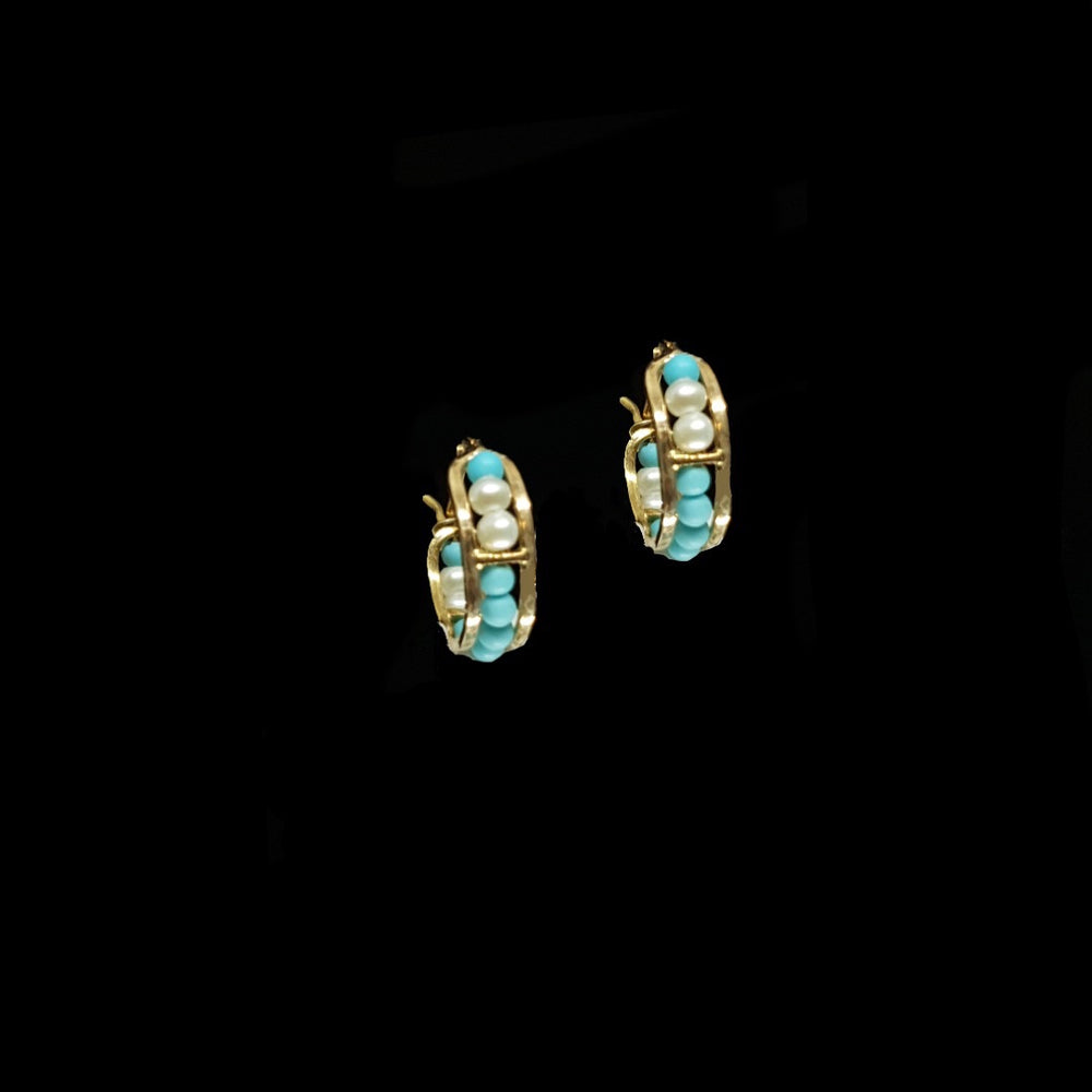 Turquoise and Pearl Hoops