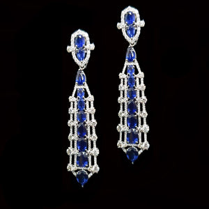Load image into Gallery viewer, Sapphire and Diamond Modern Earings