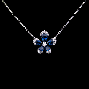 Load image into Gallery viewer, Blue Flower Necklace