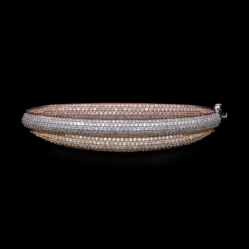 Tri Color Diamond Bangle