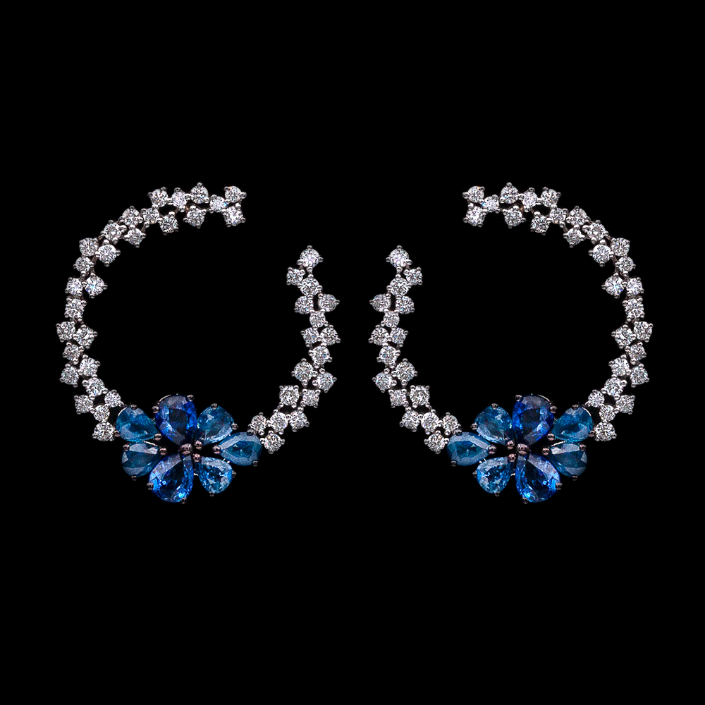 Load image into Gallery viewer, Inside-Out Sapphire Earrings