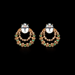 Load image into Gallery viewer, Green Quartz and Tsavorite Earring