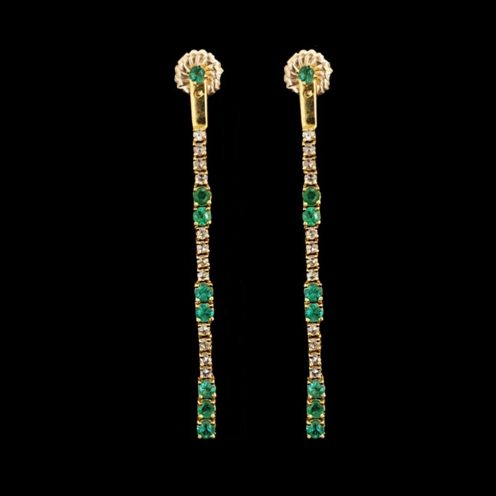 Drop Down Emerald Earrings