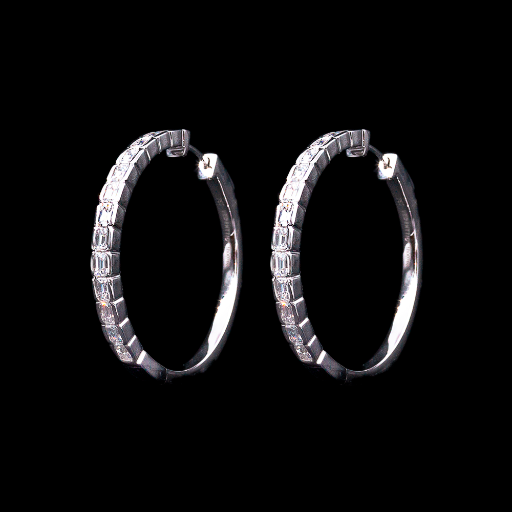 Load image into Gallery viewer, Emerald Cut Hoops
