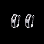 Central Emerald Cut Hoops