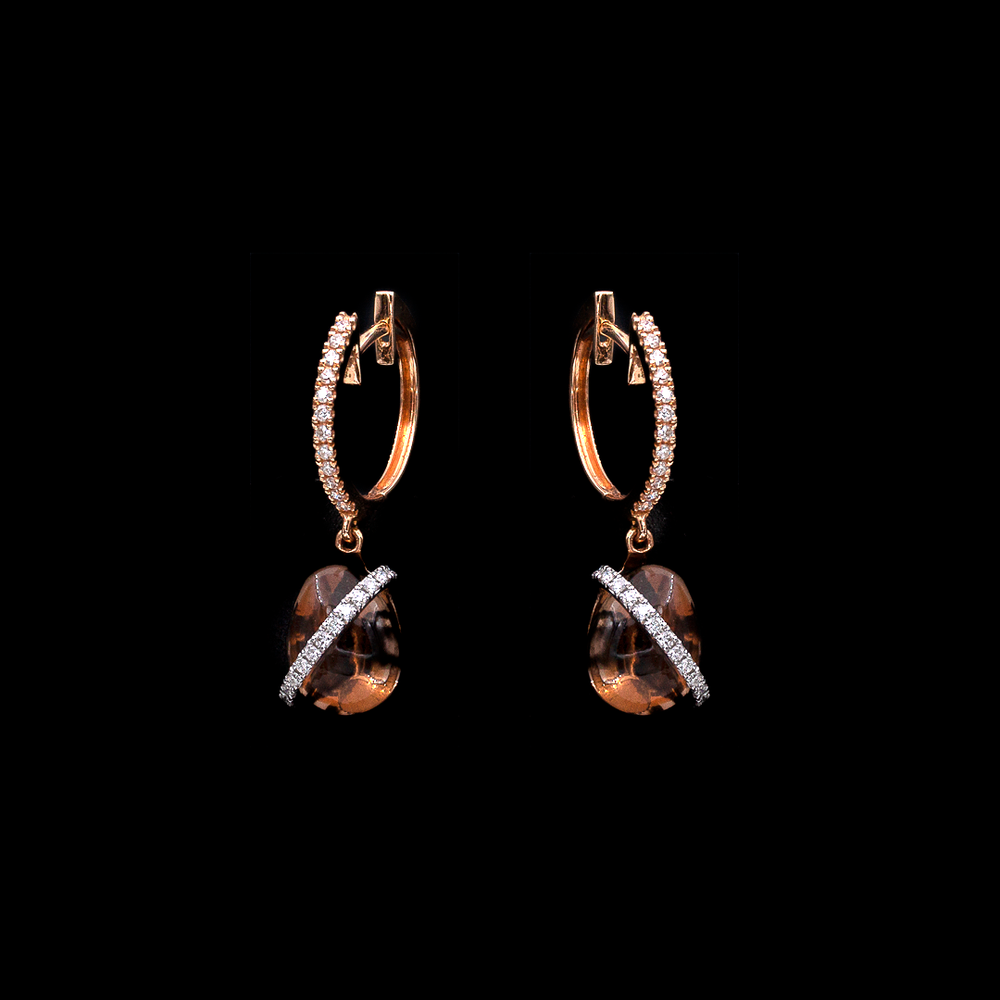 Smoked Quartz and Diamond Earrings