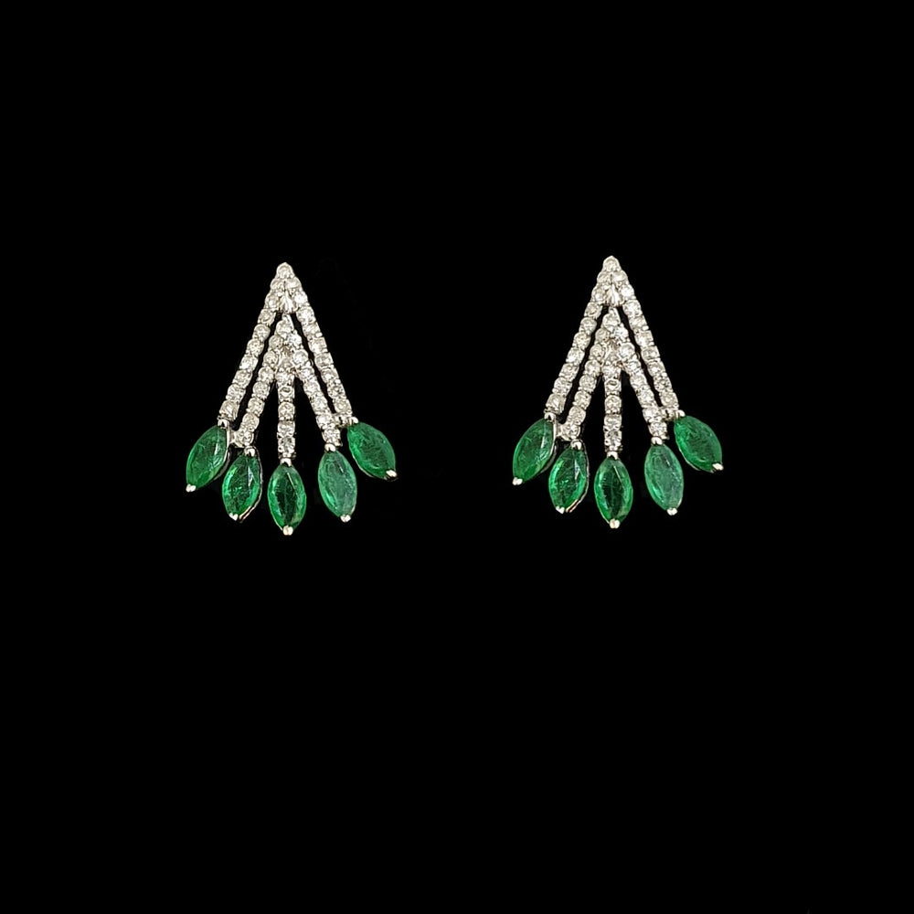 Load image into Gallery viewer, Emerald Brush Earrings