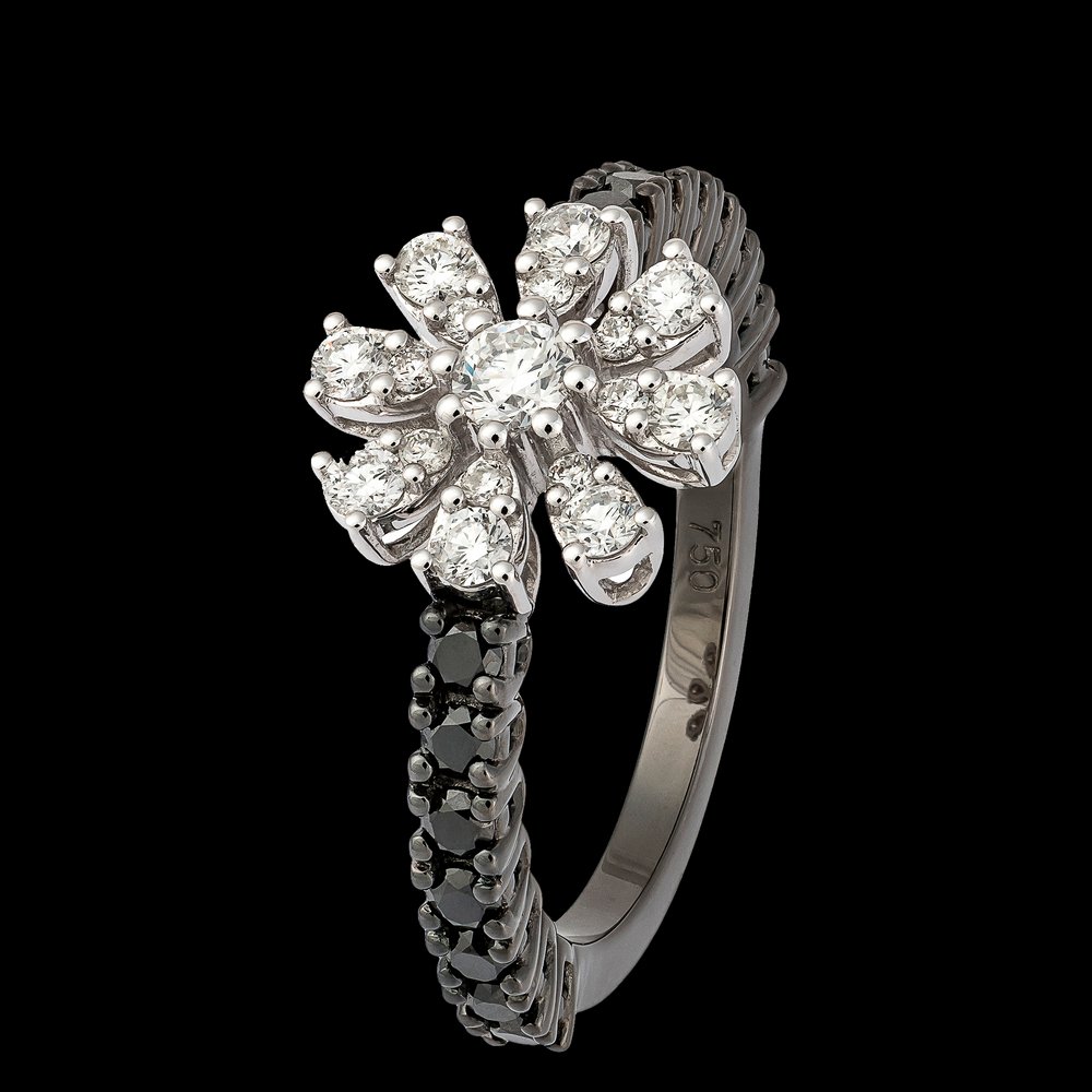 Load image into Gallery viewer, Black Diamonds and White Flower Ring
