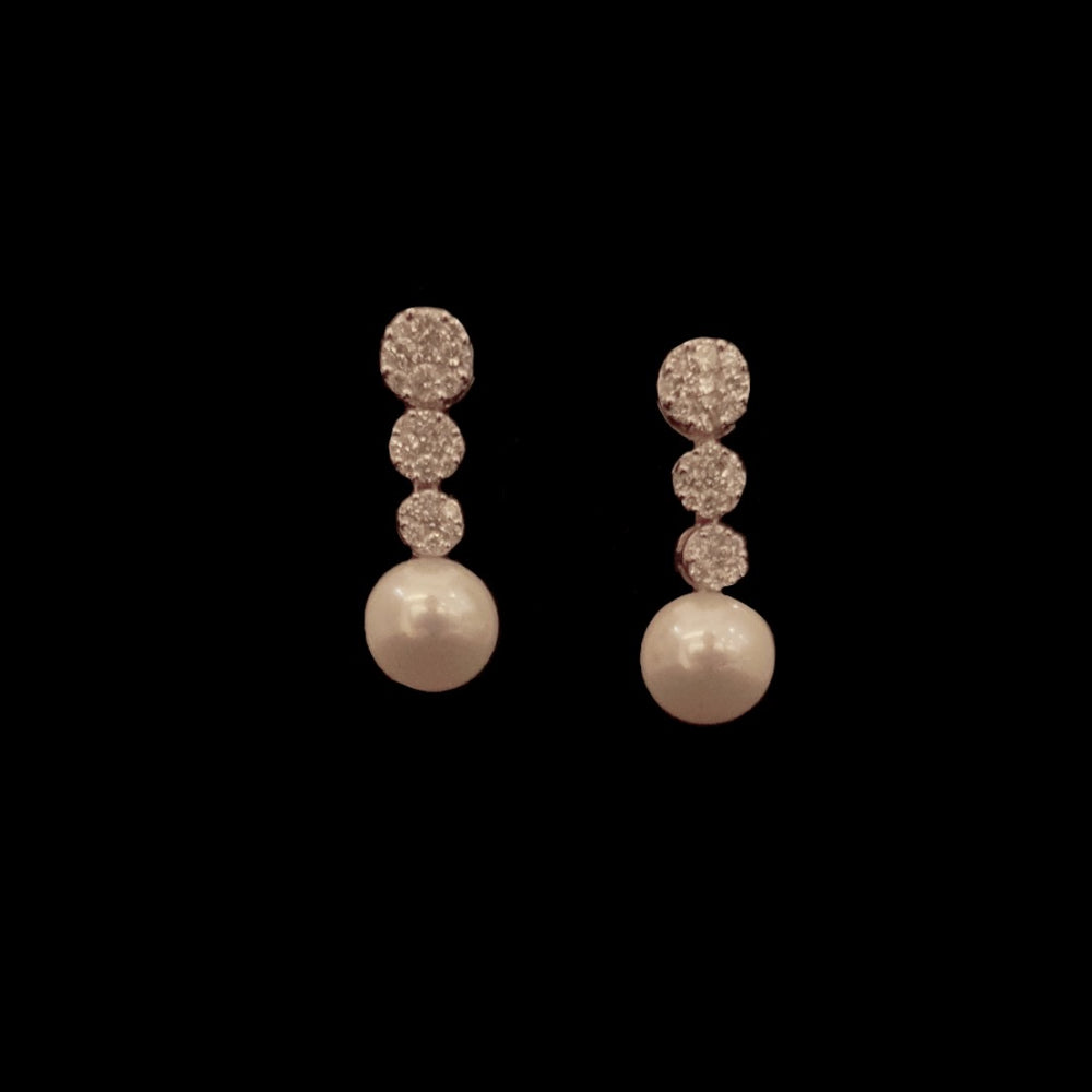 Hanging Pearl and Diamond Earrings