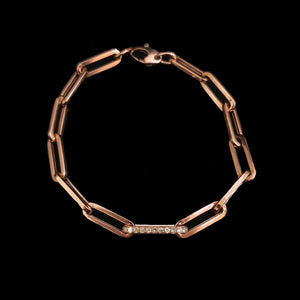 Load image into Gallery viewer, XL Diamond Link Paperclip Bracelet - Pink Gold