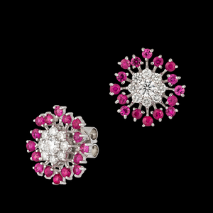 Ruby and Diamond Button Earrings