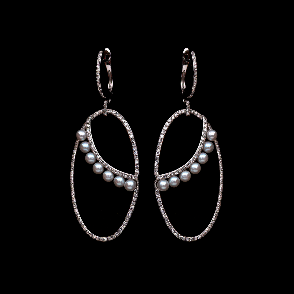 Hanging Diamond and Pearl Earrings