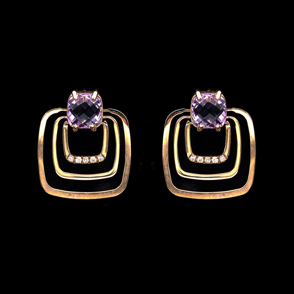 Load image into Gallery viewer, Amethyst Square Earrings