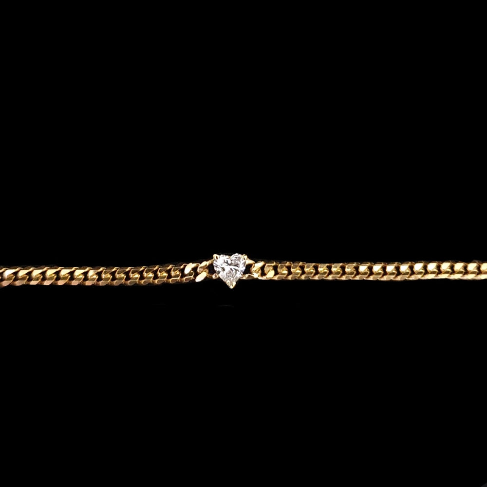 Load image into Gallery viewer, Cuban Link Heart Diamond Bracelet