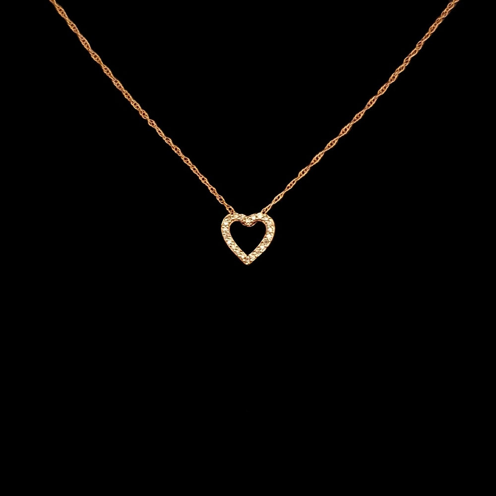 Pink Gold and Diamond Heart