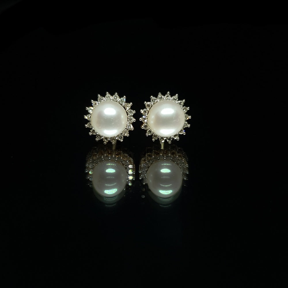 Pearl And Halo Earrings
