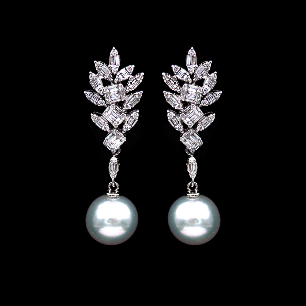 Diamond Cluster with Hanging Pearl