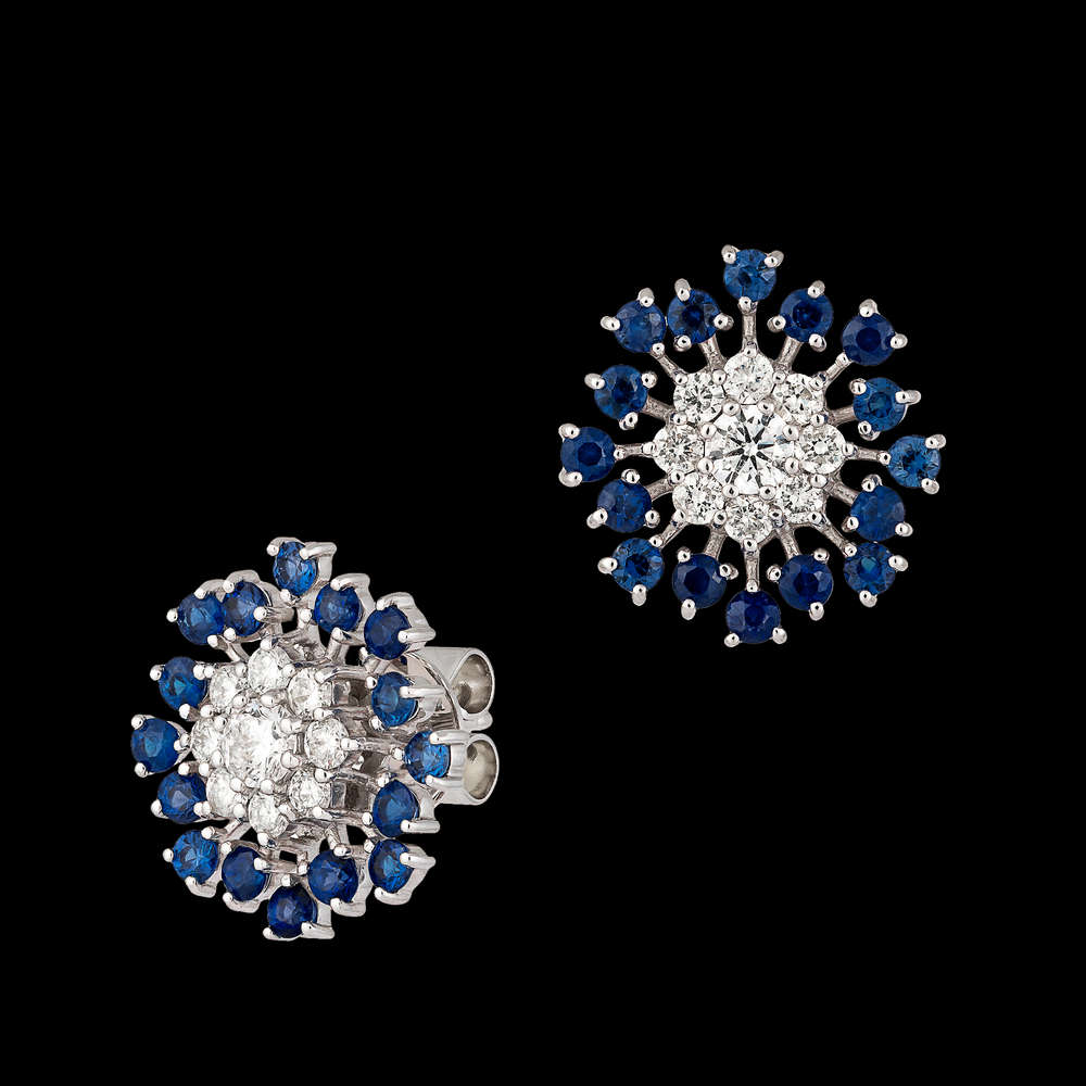 Load image into Gallery viewer, Blue Flower Button Earrings