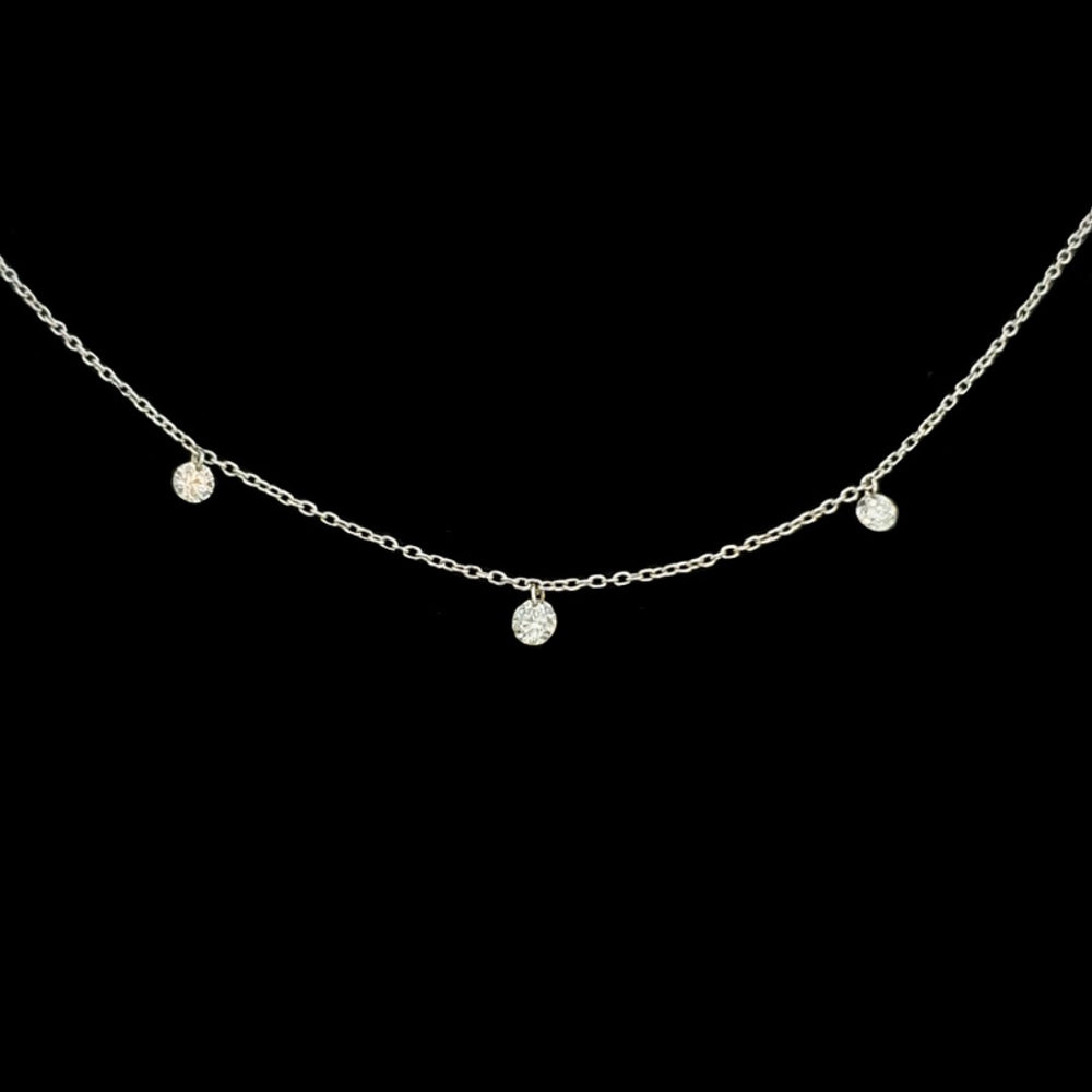 Load image into Gallery viewer, 3 Stone Diamond Necklace