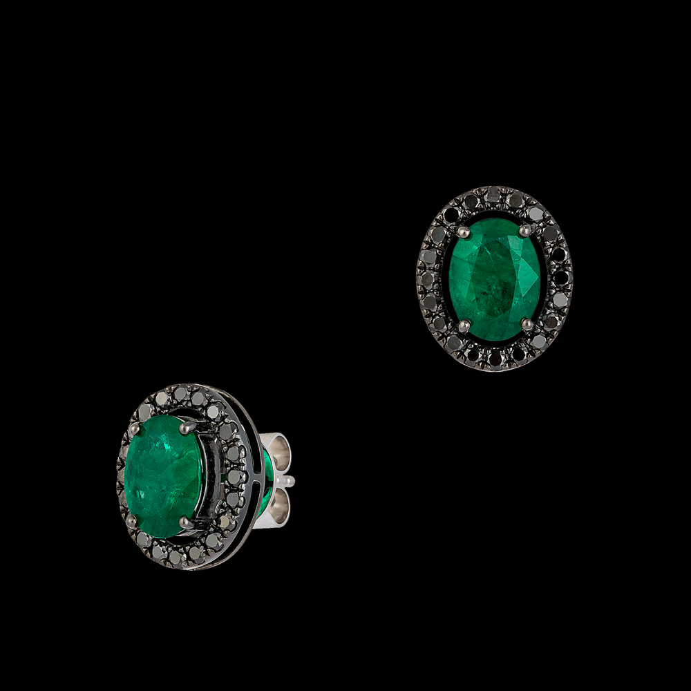 Emerald Studs with Black Diamond Halo