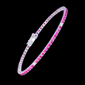 Load image into Gallery viewer, Ruby Tennis Bracelet with Diamonds